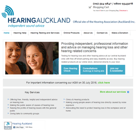 Screen shot of Hearing Auckland