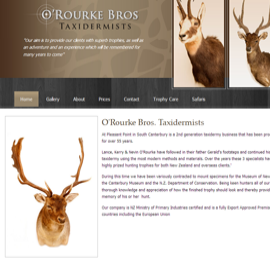 Screen shot of O'Rourke Bros Taxidermists